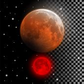 Realistic Blood Moon Vector Illustration. Red And Orange Full Moon In Lunar Eclipse Phase Isolated O poster