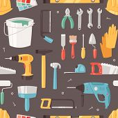 Construction Equipment Vector Constructive Tools Of Builder Or Constructor With Hammer And Screwdriv poster