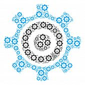 Cogwheel Collage Of Vector Gears. Vector Cogwheel Items Are Composed Into Cogwheel Collage. poster