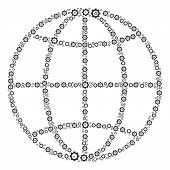 Globe Collage Of Gearwheels. Vector Gear Pictograms Are United Into Globe Collage. poster