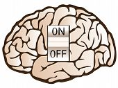 picture of brainwashing  - vector illustration of a human brain with on off swith - JPG