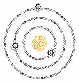 Solar System Mosaic Of Cog Wheels. Vector Gearwheel Symbols Are Organized Into Solar System Pattern. poster