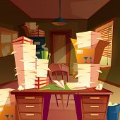 Vector Cartoon Background With Piles Of Paper In Empty Office, Paperwork, Folders, Documents In Boxe poster