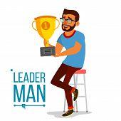 Attainment Achievement Concept Vector. Businessman Leader Holding Winner Cup. Entrepreneurship, Acco poster