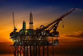 foto of oil rig  - Oil Rig at late evening - JPG