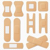 Medical Adhesive Bandage Elastic Plasters Vector Set. Realistic Elastic Bandage Patch, Medical Plast poster