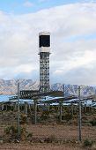 Solar Farm in the California - Nevada Desert. Solar Panels turn sunlight into electricity. Ecology.  poster