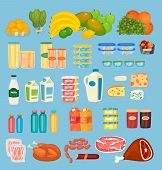 Daily Food Products Icons. Fruits, Preserves, Dairy Products, Juices In Pack And Bottles, Jams, Meat poster