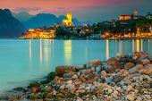 Fantastic Malcesine Touristic Recreation Resort, Colorful Sky With Stunning Sunset, Garda Lake, Vene poster