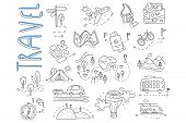 Doodle Set Of Travel And Camping Icons. Signpost, Air Balloon, Bike, Forest, Road, Camera, Car, Map, poster