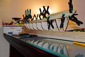 Close Up View Of Unfinished Wooden Model Of Ship Danmark. Hobby Background. poster