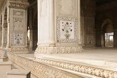 pic of khas  - Inlaid marble columns and arches Hall of Private Audience or Diwan I Khas at the Lal Qila or Red Fort in Delhi India - JPG