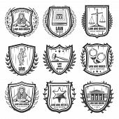 Vintage Justice Emblems Set With Judge Law Book Scales Themis Statue Gavel Handcuffs Sheriff Badge C poster