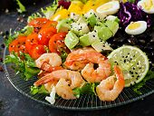 Healthy Salad Plate. Fresh Seafood Recipe. Grilled Shrimps And Fresh Vegetable Salad - Avocado, Toma poster