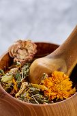 Spa Still Life With Flowers In Wooden Bowl On Light Textured Background, Top View, Close-up, Selecti poster