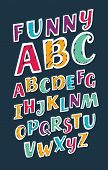 Vector Cartoon Illustration Of Hand Drawn Brush Ink Abc Letters Set In Different Colors. Slanted Tex poster