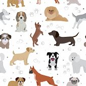 Dog Vector Cute Cartoon Puppy Illustration Home Pets Doggy Different Breed And Poses Bulldog, Hand S poster