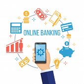 Concept For Mobile Banking And Online Payment. Hand Holding Smartphone With Mobile Payment Elements  poster
