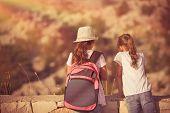 Summer camp adventures, two little girls best friends enjoying mountains hike, schoolchildren on out poster