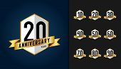 Set Of Anniversary Logotype. Anniversary Celebration Emblem With Ribbon Design For Booklet, Leaflet, poster