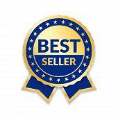 Ribbon Award Best Seller. Gold Ribbon Award Icon Isolated White Background. Bestseller Golden Tag Sa poster