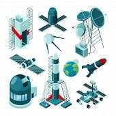 Different Constructions In Space Center For Rocket Launch. Space Rocket And Technology Station Platf poster