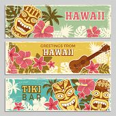 Horizontal Banners Set With Illustrations Of Hawaiian Tribal Gods And Other Different Symbols. Hawai poster