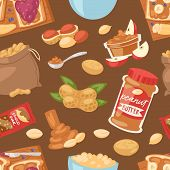 Peanut Vector Groundnut Butter Or Peanut Paste On Toast Bread Illustration Set Of Nutritious Nut Cre poster