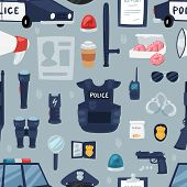 Police Vector Policy Signs Of Policeman And Police Car Illustration Set Of Or Policeofficers Bulletp poster