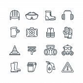 Safety Work Equipment And Protective Clothing Line Vector Icons. Safety Equipment And Protection Res poster