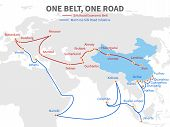 One Belt - One Road Chinese Modern Silk Road. Economic Transport Way On World Map Vector Illustratio poster