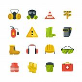 Personal Protective Equipment For Safety And Security Work Flat Vector Icons. Safety Equipment And P poster
