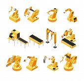 Industry Robot Machinery, Mechanical Arm Isometric Vector Set. Machinery Robot And Robotic Isometric poster