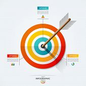 Target Infographic Template. Vector Illustration With The Arrow That Hit The Target. Business Concep poster