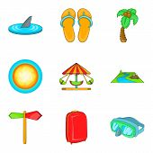 Recreational Activity Icons Set. Cartoon Set Of 9 Recreational Activity Vector Icons For Web Isolate poster