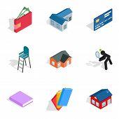 Economy Icons Set. Isometric Set Of 9 Economy Vector Icons For Web Isolated On White Background poster