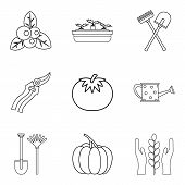 Vegan Herbivore Icons Set. Outline Set Of 9 Vegan Herbivore Vector Icons For Web Isolated On White B poster