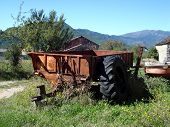 stock photo of farmworker  - A typical landscape of rural life today - JPG