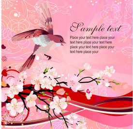 picture of nightingale  - Flying nightingale and blossoming tree - JPG