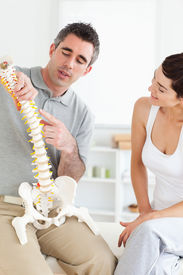 picture of chiropractor  - Chiropractor explaining the spine to a woman in a room - JPG