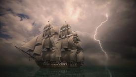 pic of sloop  - night storm coming - JPG