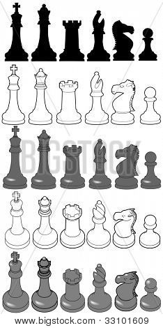 Silhouettes and 3D views of complete Chess set game pieces as line drawing