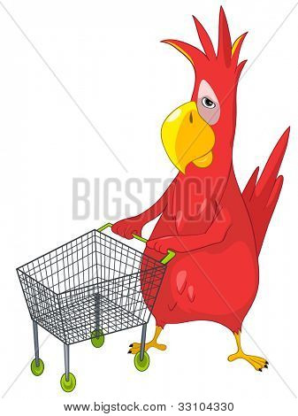 Cartoon Character Funny Parrot Isolated on White Background. Shopping. Vector EPS 10.