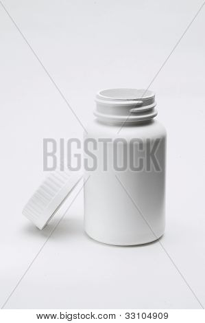 Opened White Plastic Pill Bottle