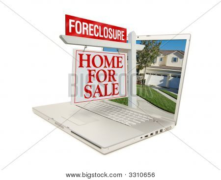 Foreclosure Home For Sale Sign & Laptop