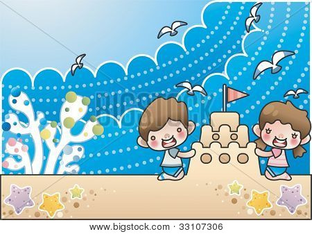 Happy Summer Vacation - playing with sand castle and cute little friends in beautiful tropical beach resort on a background of blue sky and dot patterns