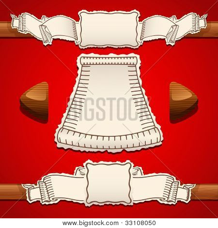 Scrolls Vector Illustration on a red backgound