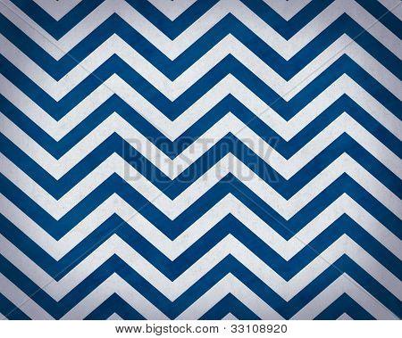 Cobalt Blue and White Grunge Textured Chevron Background