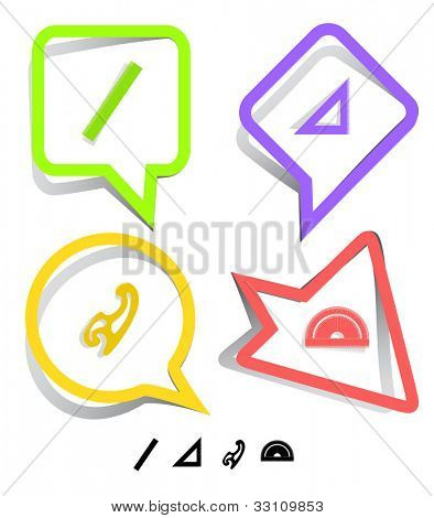 Education icon set. French curve, ruler, triangle ruler, protractor. Paper stickers. Raster illustration.