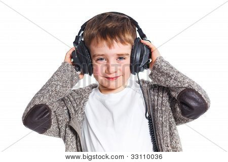 portrait of boy listening to music